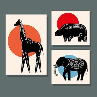 Conjunto de animais, silhuetas contemporâneas, ícones da natureza