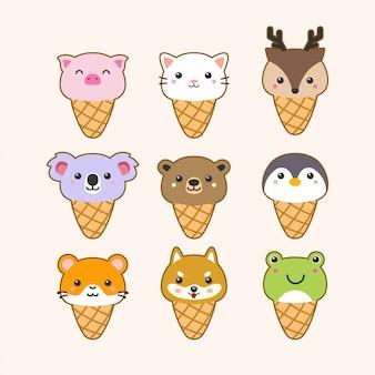 Conjunto de animais sorvete fofo