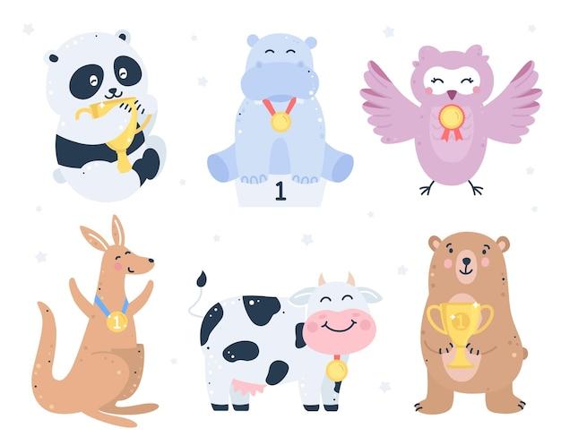 Conjunto de animais vencedores com medalhas de ouro e taças