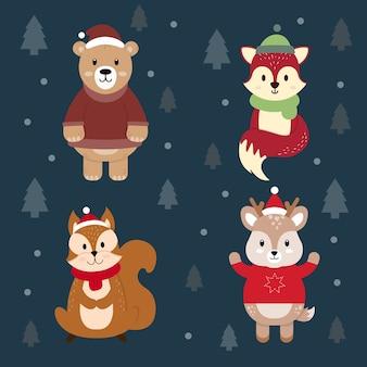 Conjunto de animais vestidos com roupas de inverno