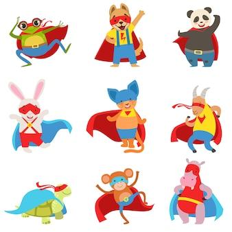 Conjunto de animais vestidos como super-heróis com capas e máscaras