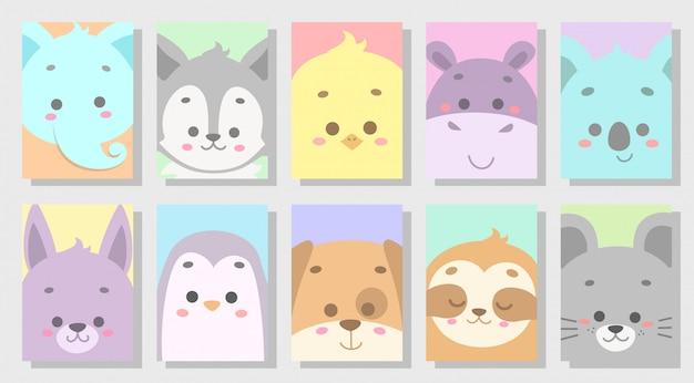 Conjunto de animal feliz fofo