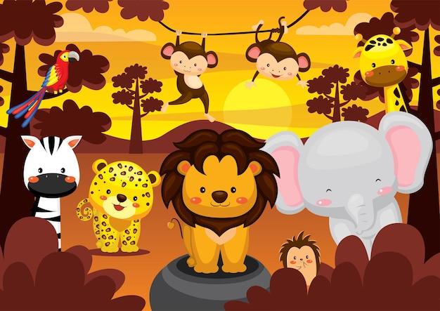 Conjunto de animal fofo com paisagem de pôr do sol africano