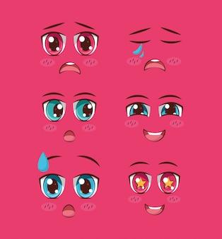 Conjunto de anime de rostos