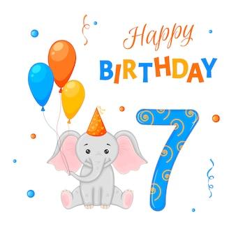 Conjunto de aniversário com elefante, a inscrição