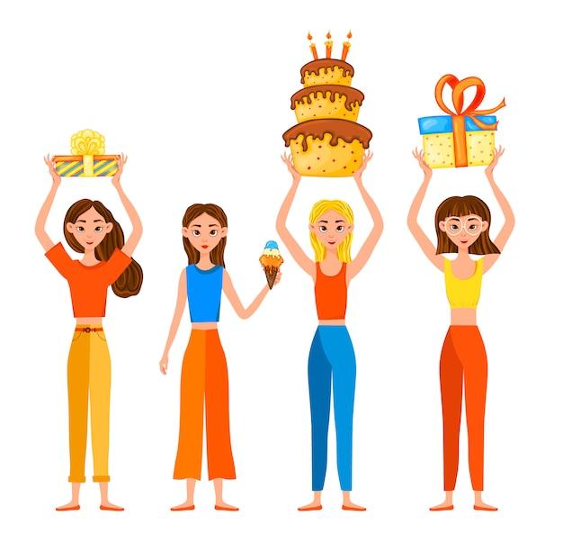 Conjunto de aniversário com meninas e presentes