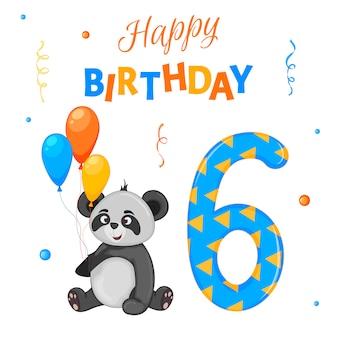 Conjunto de aniversário com panda, a inscrição