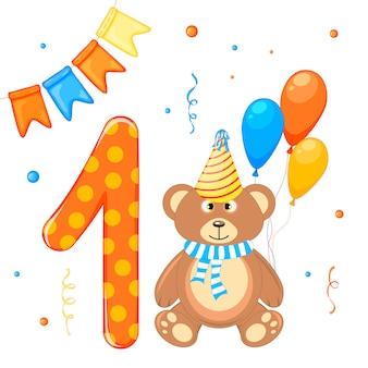 Conjunto de aniversário com ursinho de pelúcia e número um