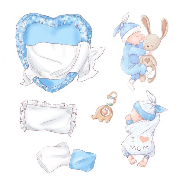 Conjunto de aniversário de chuveiro de bebê recém-nascido. desenho à mão