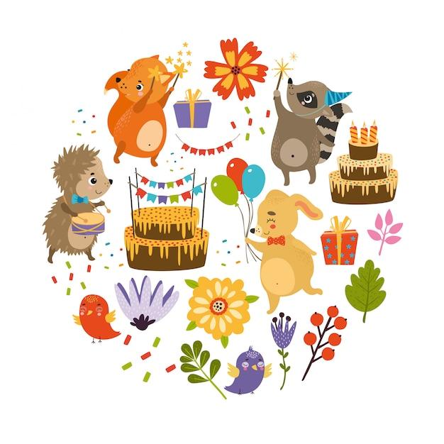 Conjunto de aniversário. feriado com animais