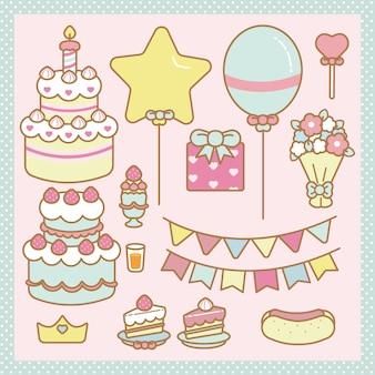 Conjunto de aniversário kawaii
