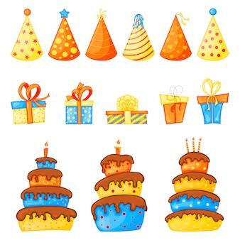 Conjunto de aniversário para cartão de férias ou panfleto com bolos, bonés e caixas de presente, brincar de doces ou travessuras no dia das bruxas