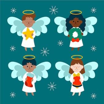 Conjunto de anjo de natal desenhado à mão