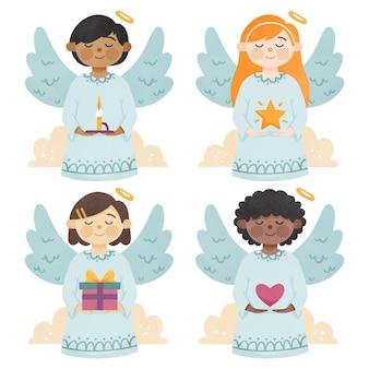 Conjunto de anjo de natal em aquarela