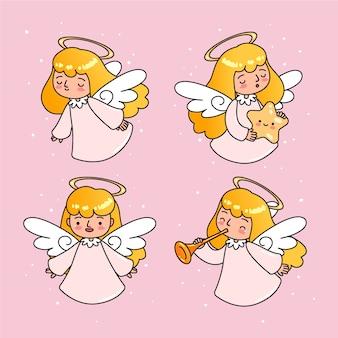Conjunto de anjo de natal mão desenhada