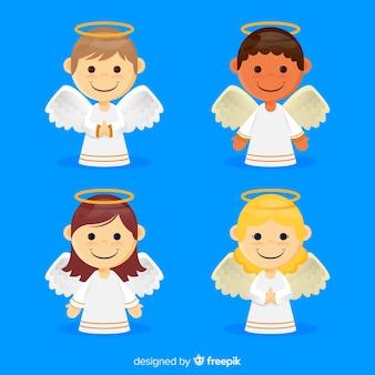 Conjunto de anjo de natal plana
