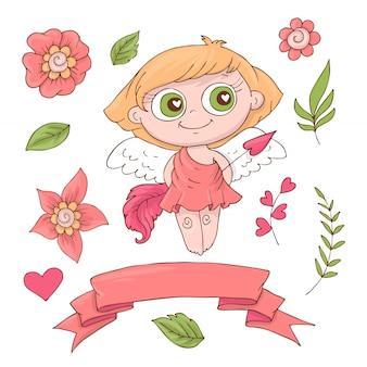 Conjunto de anjos bonito dos desenhos animados para o dia dos namorados