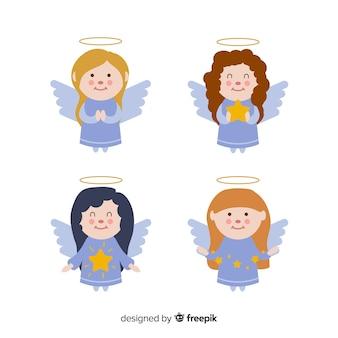 Conjunto de anjos de natal em design plano