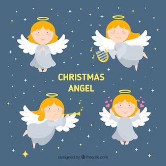 Conjunto de anjos de natal fofos