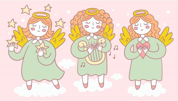 Conjunto de anjos fofos