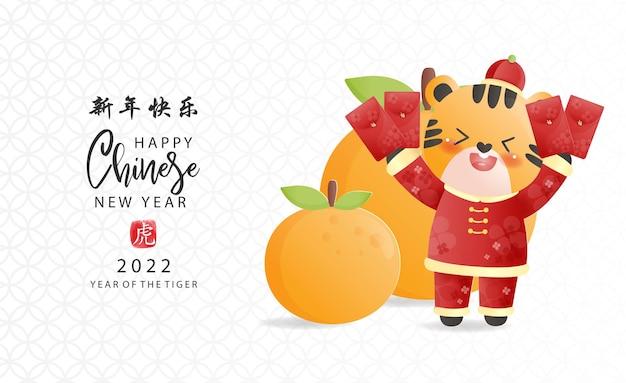 Conjunto de ano novo chinês do tigre e bolsa de dinheiro
