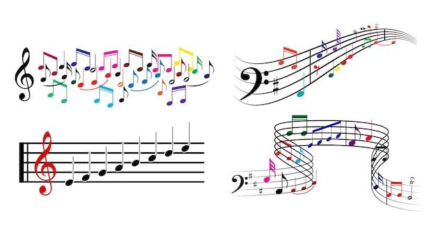 Conjunto de anotações musicais coloridas realistas ou conceito de elementos de nota musical em vetor eps