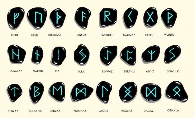 Conjunto de antigas runas nórdicas escandinavos esculpidas em pedra