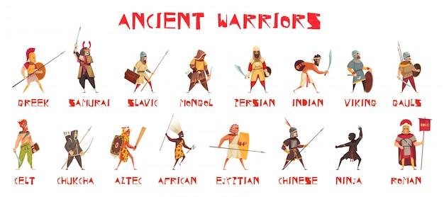 Conjunto de antigos guerreiros com armas nacionais planas isoladas