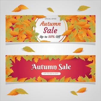 Conjunto de anúncio de banner de desconto de venda outono