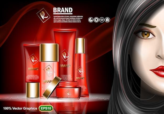 Conjunto de anúncios de creme skin care