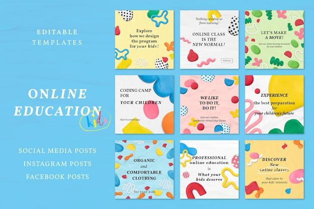 Conjunto de anúncios de mídia social com padrão de argila de plasticina vetor modelo de curso on-line para crianças
