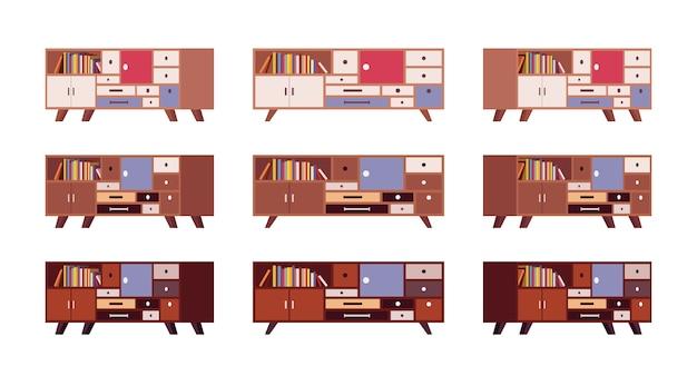 Conjunto de aparadores retrô com gavetas e estantes