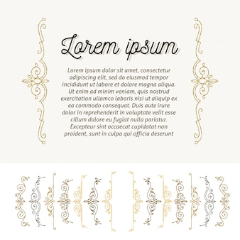 Conjunto de aparelho de floreios ornamentais. elementos de design de decoração de página. ilustração.