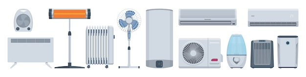 Conjunto de aparelhos climáticos planos. condicionadores, aquecedores e outros. ilustração. coleção
