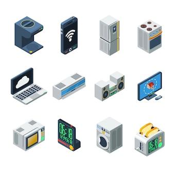 Conjunto de aparelhos de casa isométrica