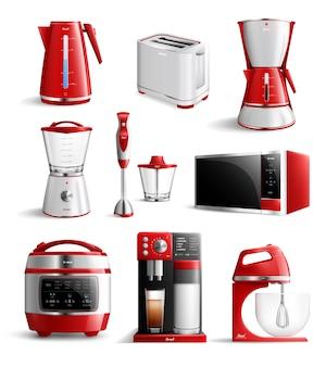 Conjunto de aparelhos de cozinha doméstica realista