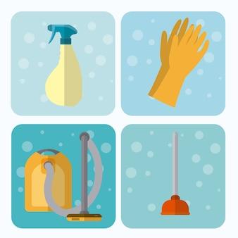 Conjunto de aparelhos de limpeza em quadrados coloridos