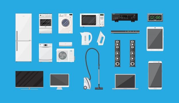 Conjunto de aparelhos domésticos e dispositivos eletrônicos