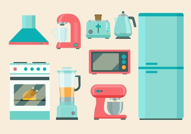 Conjunto de aparelhos retro de cozinha. ícones lisos. ilustração vetorial