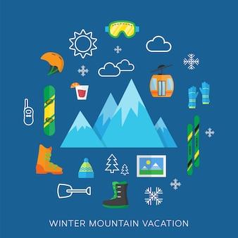 Conjunto de apartamento de férias de inverno