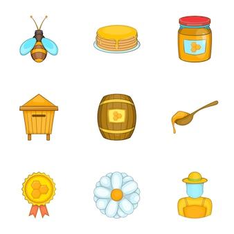 Conjunto de apiário, estilo cartoon