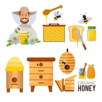 Conjunto de apicultor, colmeia e abelhas