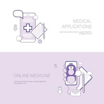 Conjunto de aplicações médicas e banners de medicina on-line