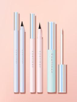 Conjunto de aplicador e caneta delineador para olhos ou lábios com frasco de tubo pastel ou corpo com acabamento holográfico
