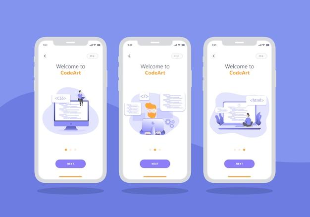 Conjunto de aplicativo de agência de desenvolvimento web de design de interface do usuário de tela onboarding móvel