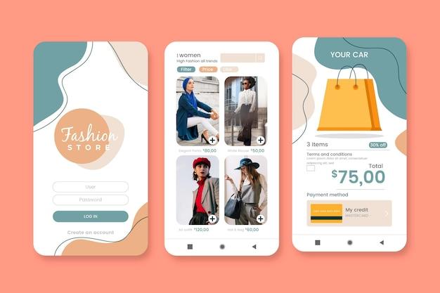 Conjunto de aplicativos de compras de moda