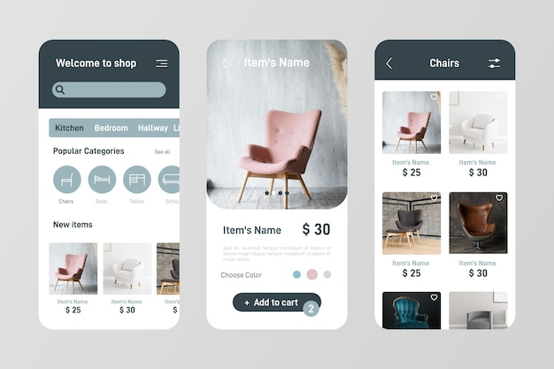 Conjunto de aplicativos de compras de móveis