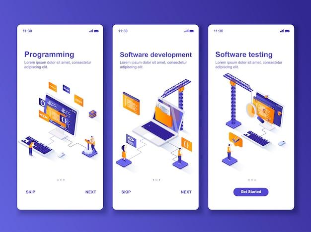 Conjunto de aplicativos de desenvolvimento de software isométrico Vetor Premium