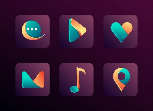 Conjunto de aplicativos de ícones modernos