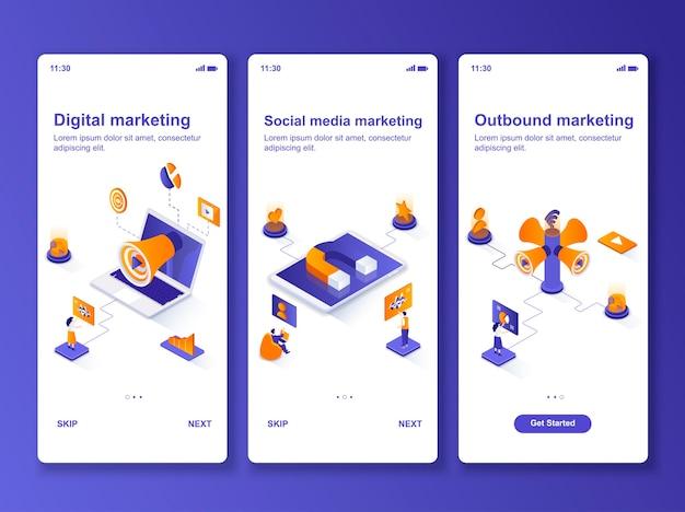 Conjunto de aplicativos de marketing de mídia social isométrico